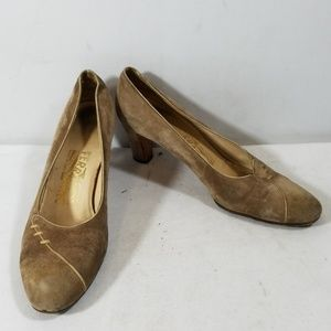 Salvatore Ferragamo Tan Leather Slip On Heels 6.5